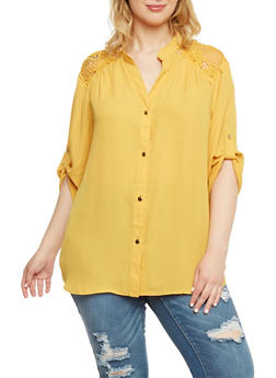Plus Size Button Front Shirt with Crochet Panel - MUSTARD - 1803051068877