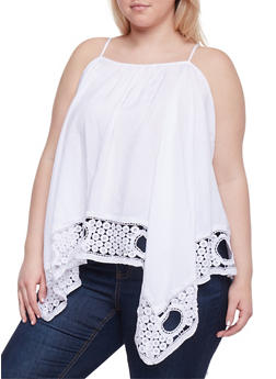 Plus Size Sleeveless Crochet Trimmed Sharkbite Top - 1803051068921