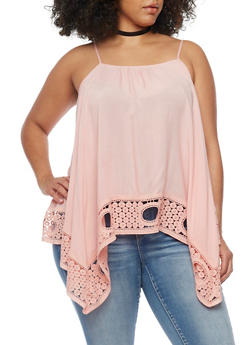 Plus Size Sleeveless Crochet Trimmed Sharkbite Top - 1803051068921