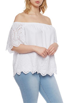 Plus Size Off the Shoulder Eyelet Top with Short Sleeves - WHITE - 1803051068976