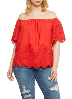 Plus Size Off the Shoulder Eyelet Top with Short Sleeves - 1803051068976