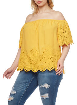 Plus Size Off the Shoulder Eyelet Top with Short Sleeves - MUSTARD - 1803051068976