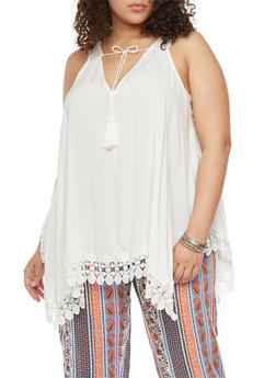 Plus Size Sleeveless Sharkbite Top with Crochet Trim - IVORY - 1803051068984