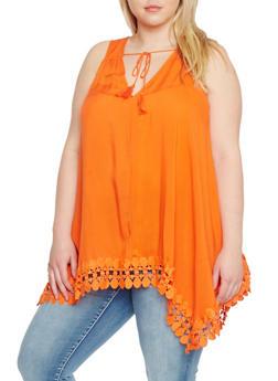 Plus Size Sleeveless Sharkbite Top with Crochet Trim - 1803051068984