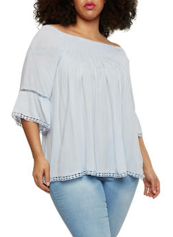 Plus Size Off the Shoulder Peasant Top with Crochet Trim - 1803051068998