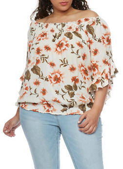 Plus Size Off the Shoulder Floral Top with 3/4 Ruffle Sleeves - 1803051069005
