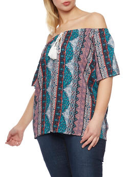 Plus Size Printed Off the Shoulder Top with Tassels - TEAL - 1803051069085