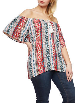 Plus Size Printed Off the Shoulder Top with Tassels - RED - 1803051069085