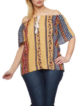 Plus Size Printed Off the Shoulder Top with Tassels - MUSTARD - 1803051069085