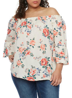 Plus Size Off the Shoulder Floral Peasant Top with Bell Sleeves - 1803051069099