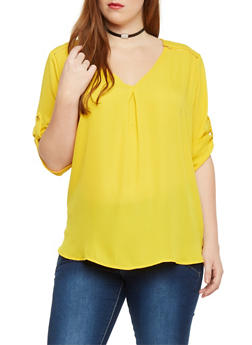 Plus Size Chiffon Top with Zip Shoulder Accents - MUSTARD - 1803051069113