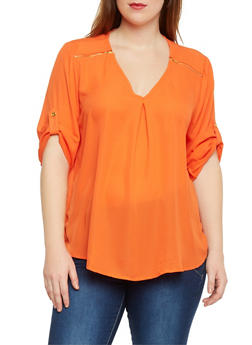 Plus Size Chiffon Top with Zip Shoulder Accents - 1803051069113