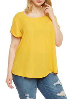 Plus Size Scoop Neck Top with Zip Back Detail - MUSTARD - 1803051069114