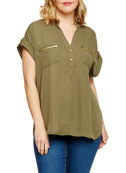 Plus Size Short Sleeve Henley Blouse with Front Pockets - OLIVE - 1803051069133