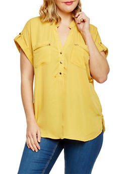 Plus Size Short Sleeve Henley Blouse with Front Pockets - MUSTARD - 1803051069133