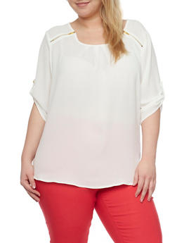 Plus Size Zip Shoulder Blouse - 1803051069134