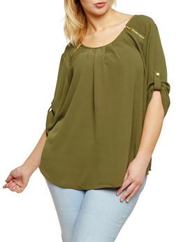 Plus Size Zip Shoulder Blouse - 1803051069134