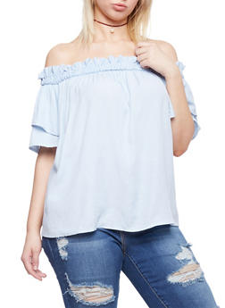 Plus Size Smocked Off the Shoulder Two Tiered Sleeve Top - 1803051069200