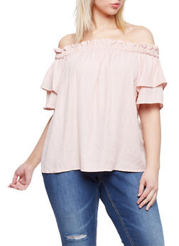Plus Size Smocked Off the Shoulder Two Tiered Sleeve Top - BLUSH - 1803051069200