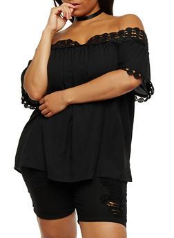 Plus Size Crochet Trim Off the Shoulder Peasant Top - 1803051069231