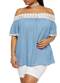 Plus Size Crochet Trim Off the Shoulder Peasant Top - 1803051069231