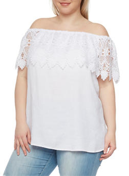 Plus Size Crochet Ruffled Off the Shoulder Top - WHITE - 1803051069233