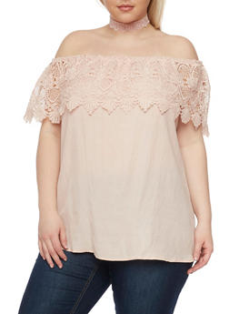 Plus Size Crochet Ruffled Off the Shoulder Top - BLUSH - 1803051069233