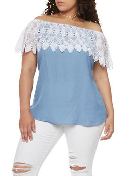 Plus Size Crochet Ruffled Off the Shoulder Top - 1803051069233