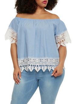 Plus Size Off the Shoulder Crochet Trimmed Top - 1803051069236