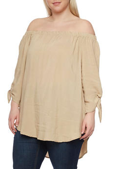 Plus Size Off the Shoulder High Low Top with Tie Sleeves - 1803051069254
