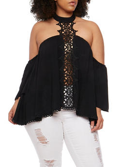 Plus Size Off the Shoulder Top with Crochet Halter Neck - 1803051069314