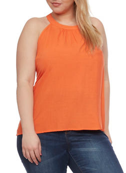 Plus Size Solid Zip Back Tank Top - 1803051069317