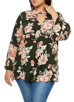 Plus Size Crochet Insert Floral Top - 1803051069550