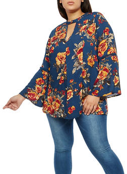 Plus Size Crochet Insert Floral Top - 1803051069550