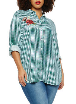 Plus Size Embroidered Gingham Print Button Front Shirt - 1803051069704