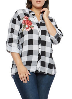 Plus Size Checkered Button Front Shirt - 1803051069745