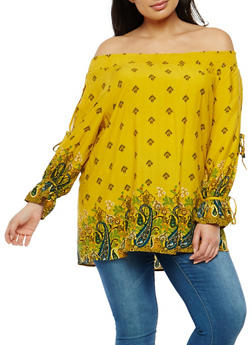 Plus Size Paisley Print Smocked Neck Top - 1803051069845