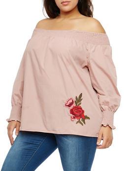 Plus Size Floral Applique Off the Shoulder Top - 1803051069855