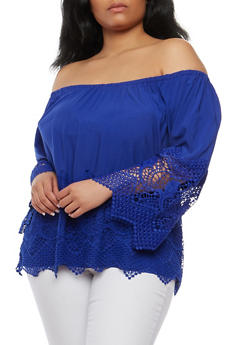Plus Size Crochet Trim Off the Shoulder Top - 1803051069860