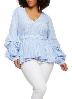 Plus Size Striped Long Sleeve Ruffle Hem Top - 1803051069907