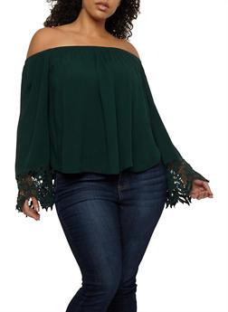 Plus Size Off the Shoulder Top with Crochet Details - 1803054260685