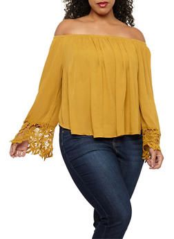 Plus Size Off the Shoulder Top with Crochet Details - 1803054260685