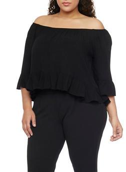 Plus Size Off the Shoulder Ruffled Hem Gauze Top - 1803054265839