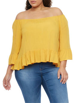 Plus Size Off the Shoulder Ruffled Hem Gauze Top - NEW MUSTARD - 1803054265839