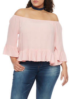 Plus Size Off the Shoulder Ruffled Hem Gauze Top - 1803054265839