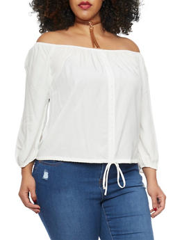 Plus Size Off The Shoulder Challis Top - 1803054265840