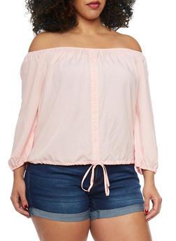 Plus Size Off The Shoulder Challis Top - BLUSH - 1803054265840