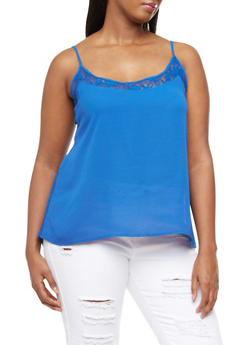 Plus Size Racerback Tank Top With Spaghetti Straps And Lace Trim,RYL BLUE,medium