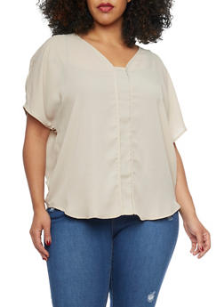 Plus Size Chiffon V Neck Blouse - 1803054266824