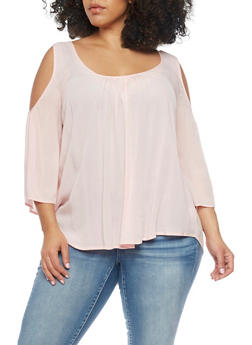 Plus Size 3/4 Sleeve Cold Shoulder Top - 1803054266848